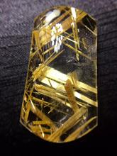 Certificate Natural Gold Rutilated Quartz Titanium Pendant Rectangle Gemstone AAAAA Gift 38x23x9mm Crystal Stone