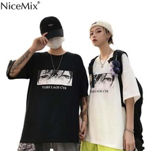 NiceMix Girls Streetwear Cry Eye Letter Print T Shirt Solid Color Short Sleeve T Shirts Summer Causal Loose Tee Top Femal eye print top
