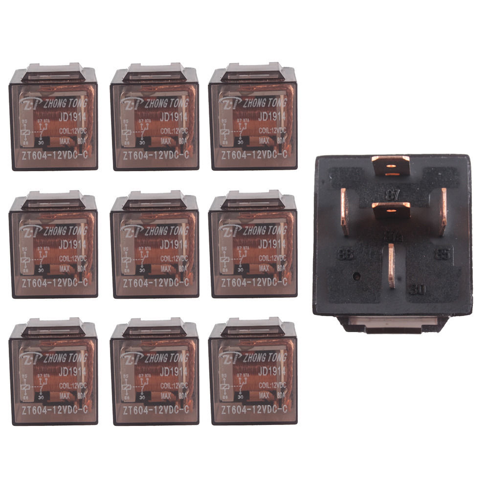 EE support 10 Pcs 12V <font><b>12</b></font> Volt 80A <font><b>80</b></font> AMP Transparent SPDT Relay 5Pin 5P Car Relays Auto Vehicle image