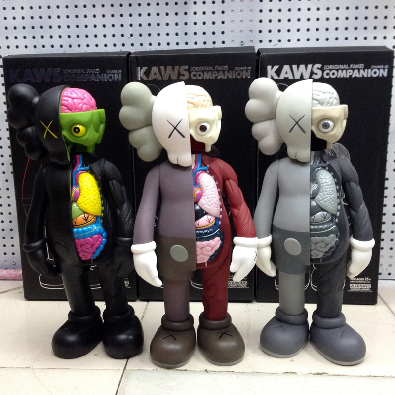 ФОТО 38 cm Original Fake KAWS Plastic Action Figures  Model Dolls with box Brinquedos Ka15
