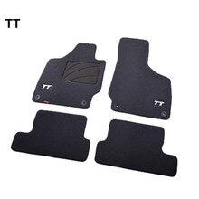 A Set Black TT PP Suede Car Foot Mats Front & Rear Carpet Ma