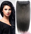 "16""-32"" 1Pcs Set Single Hairpieces 100% Brazilian Human Hair Clips In/on Extensions #1B Natural Black 70g-180g"