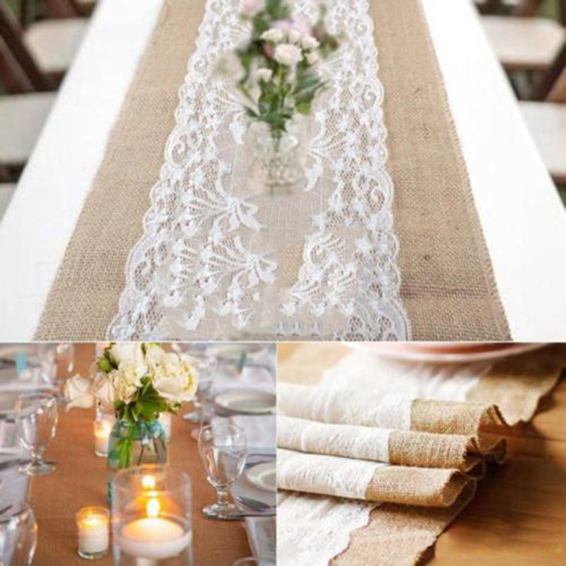 Hot Sale Elegant Jute Table Runner Burlap Lace Table Cloth Wedding ...