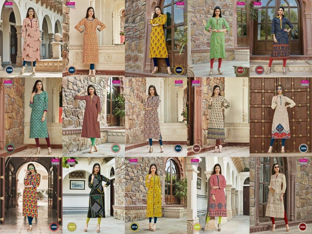 Indian Traditional Kurti 3 Quarter Sleeve Flower  Cotton Kurta Bollywood Designer Tunic Printed Top Women Dress Daily Party Wear