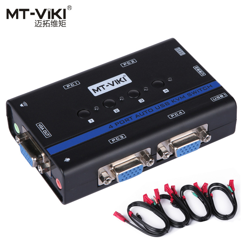 MT-VIKI 4 Port Auto VGA SWITCH  KVM Switch Hotkey PC Selector  1 KM Combo Control 4 Hosts with Audio Mic Original Cable MT-461KL