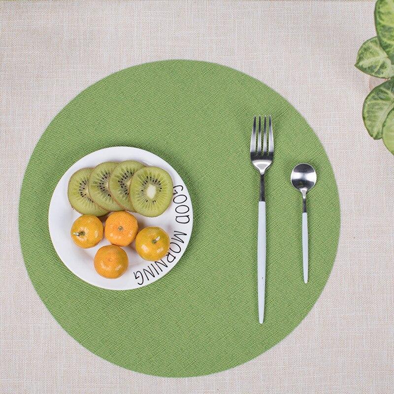 4pcs/lot PVC Minimalist Table Mat Round Placemats Waterproof Tablecloth Coaster Pad Heat Insulation Dinner Table Pad 35x35cm