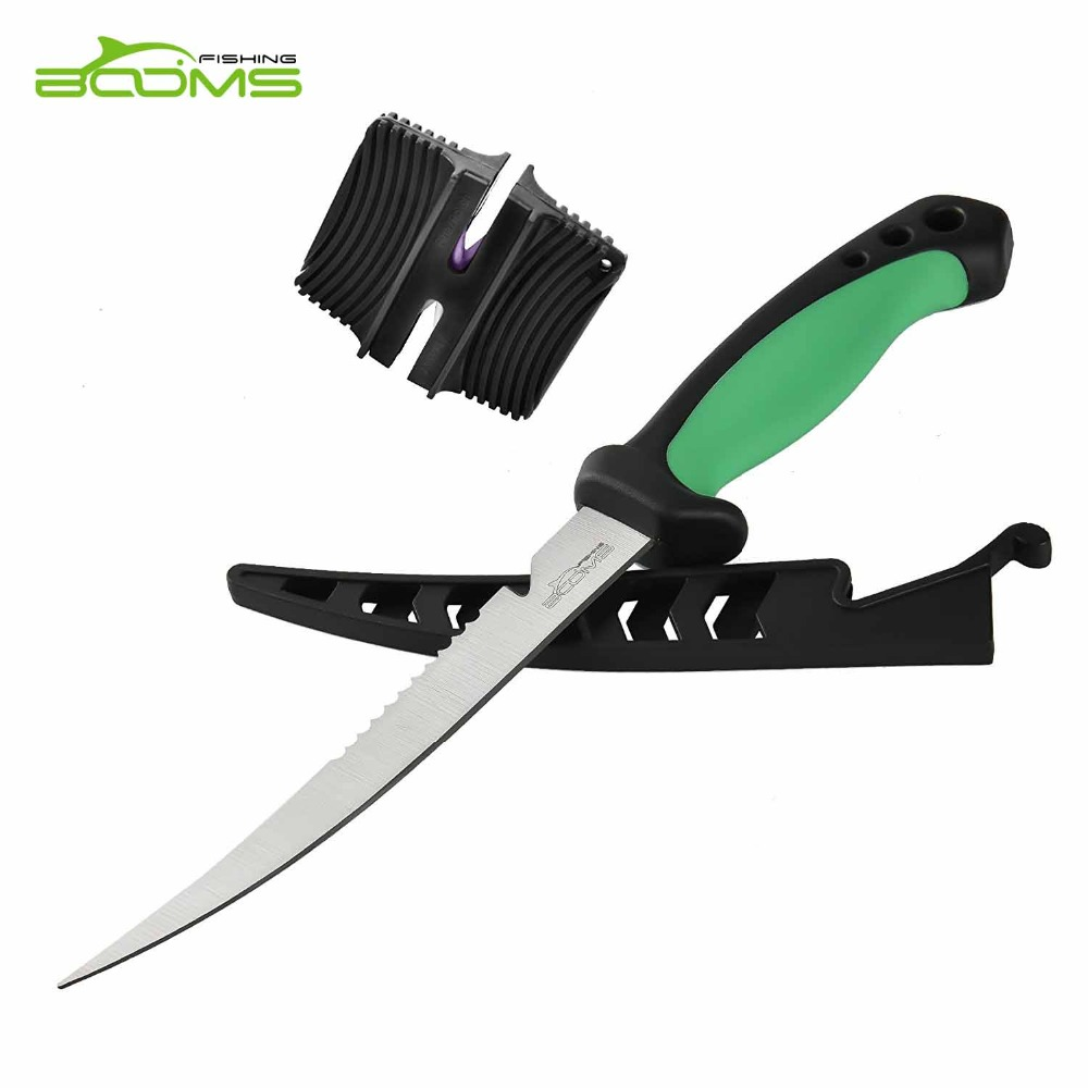Booms Fishing FK2 Portable Fillet Knifes Stainless Steel with Sheath 16.5cm with Ceramic Knife Sharpener Fishing Tool Knives booms fishing hs1 multi groove fish hook sharpener with lanyard