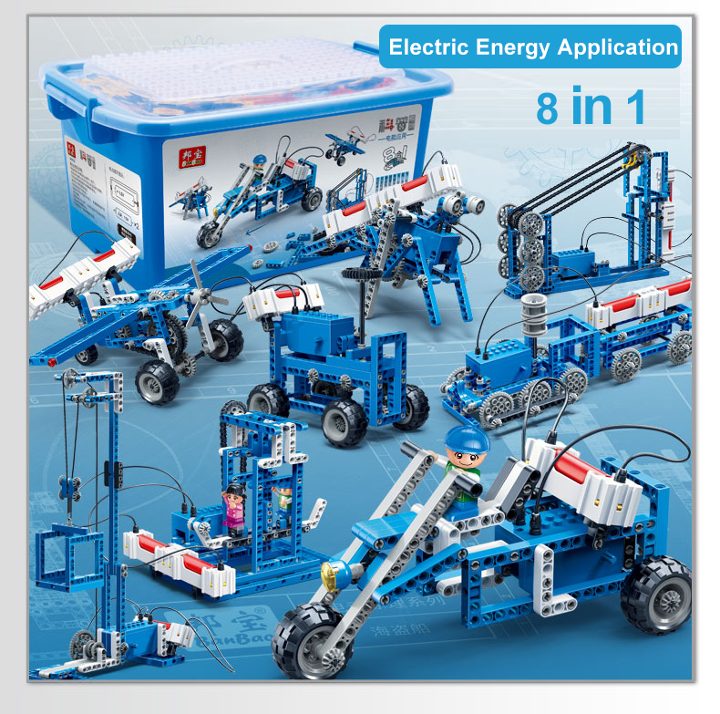 Science Manual Electric energy power generation vehicle block building robot Compatible Assembly For Children technic Toy