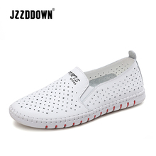 Women casual  loafers  shoes Genuine Leather ladies flats sneakers shoe Hollow female moccasins White Black canvas Boat shoes
