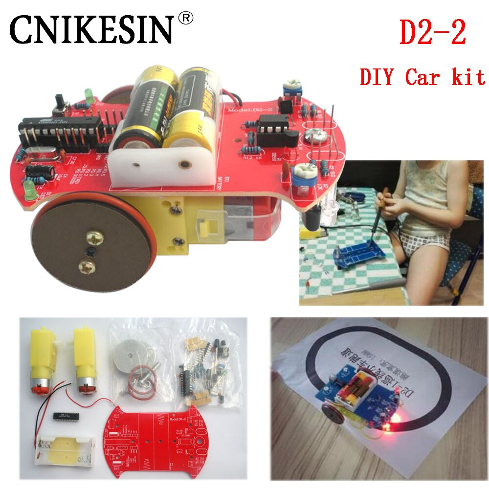 CNIKESIN D2-2 DIY kit Intelligent Tracking Line Smart Car Kit Suite 51 Single Line AT89C2051 Electronic Production suite