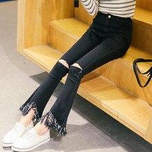 Новая коллекция весна и лето 2016 Корейских женщин джинсы высокой упругой отверстие кисточкой bellbottom узкие брюки девять