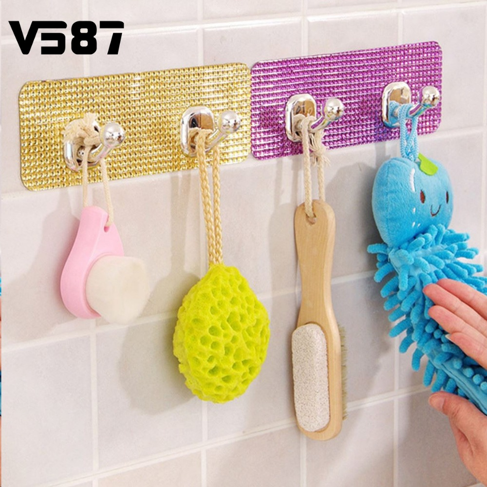 Magic Crystal Wall Sticker Hanger Adhesive Hook Colorful Clothes ...