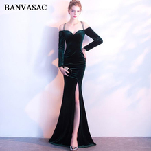 BANVASAC 2018 Sweetheart Velour Sexy Split Mermaid Long Evening Dresses Vintage Sleeve Crystal Party Prom Gowns