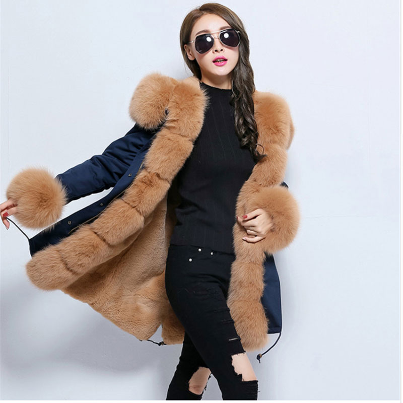 Korean Hot New Long Fur Coat Navy Blue Parka Winter Jacket Women Outwear Thick Natural Real Fox Fur Collar Hooded Coat Pelliccia hot autumn womens slim wool warm coat parka navy blue size s xl light tan red navy