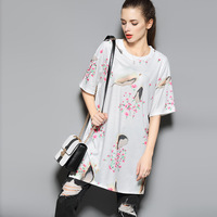 Hot sale summer new fashion female short sleeve cotton T-shirt,Loose boutique ladies print tops,Plus size women's O-neck tops