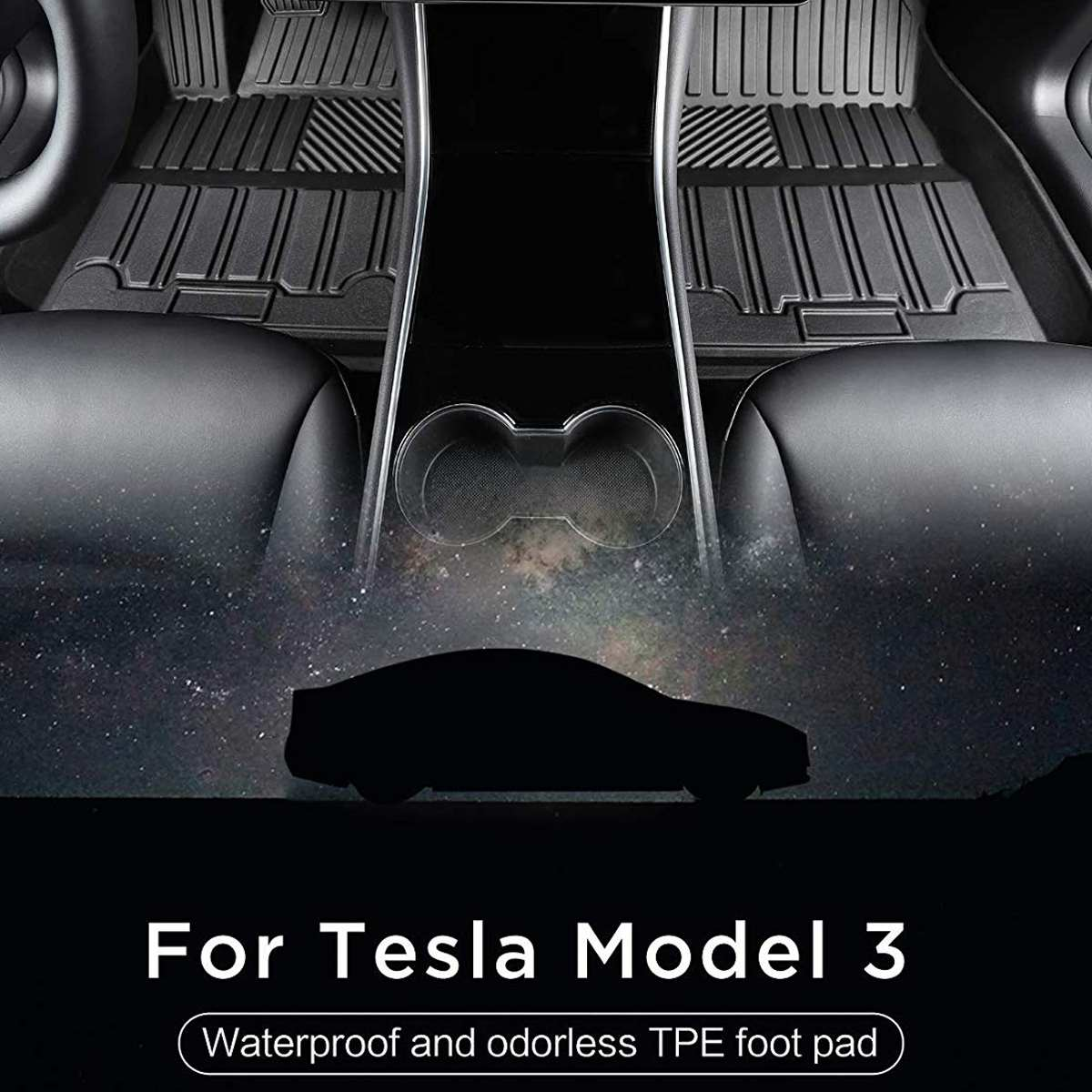Audew Black TPE Waterproof Car Floor Mat Auto Interior Anti-dust Seat Cushion Mat Front Rear for Tesla Model 3 All-Weather Fits(China)