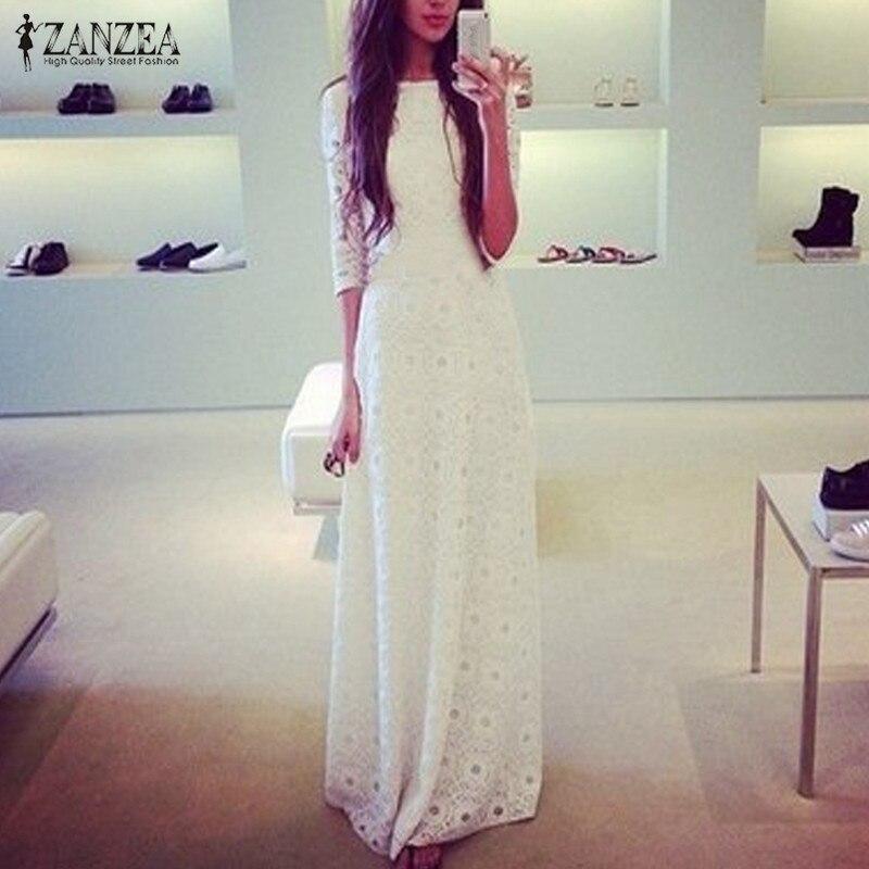 ZANZEA 2018 Демисезонный женское платье Половина рукава Белый Кружево полый тонкий элегантный макси длинное платье вечерние платья Плюс S-4XL