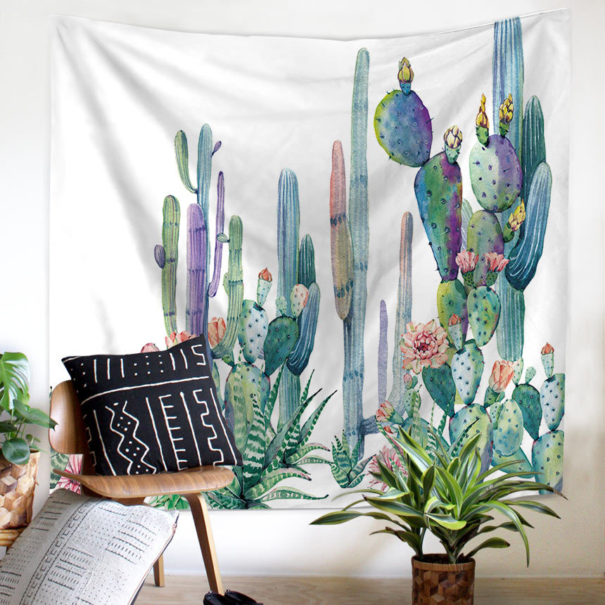 wall tapestry cactus watercolor succulents plant floral wall decor large wall hanging wall art. Black Bedroom Furniture Sets. Home Design Ideas