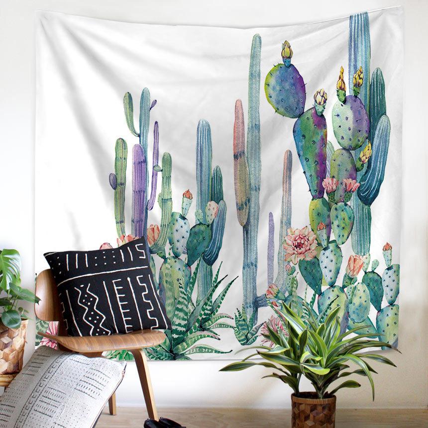 Wandteppich Kaktus Aquarell Sukkulenten Pflanzen Floral Wand-dekor ...