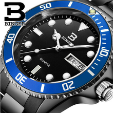 Switzerland Binger Mens Sports Watches New Arrival Swiming Climbing Military Quartz Wristwatch Waterproof Strong Luminous Watch