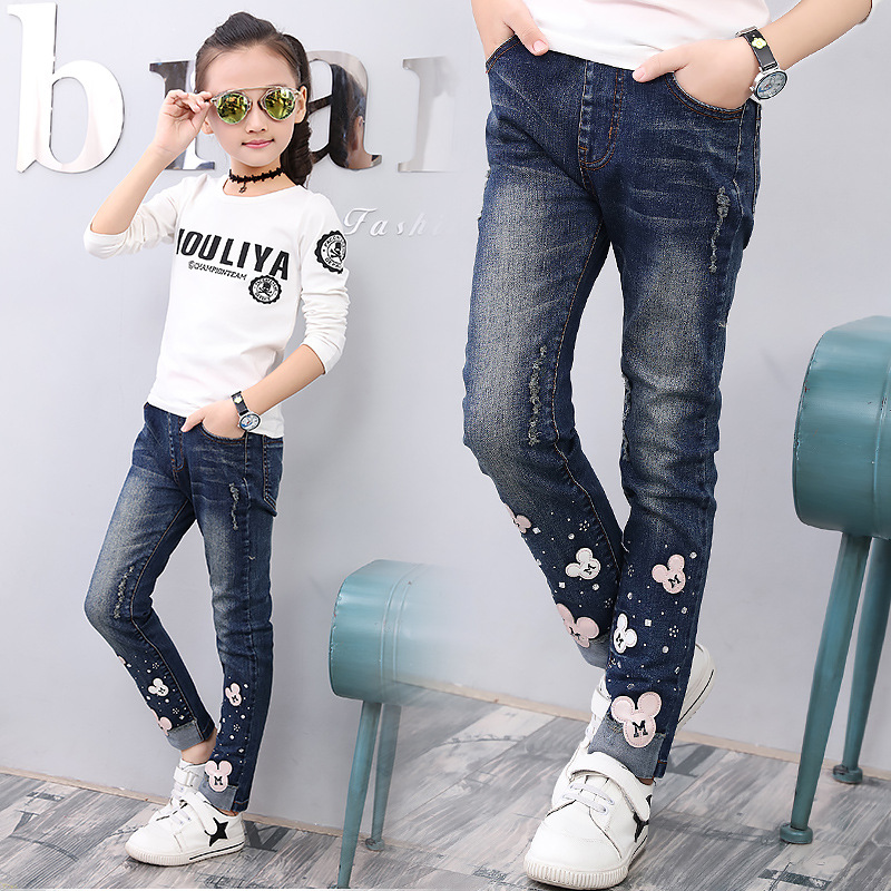 Kids Girl Skinny Jeans Autumn Big Girls Cotton Denim Pants Cartoon Mouse Teenage Trousers Elasticity Jeans for Girls 12 Years men skinny destroyed jeans