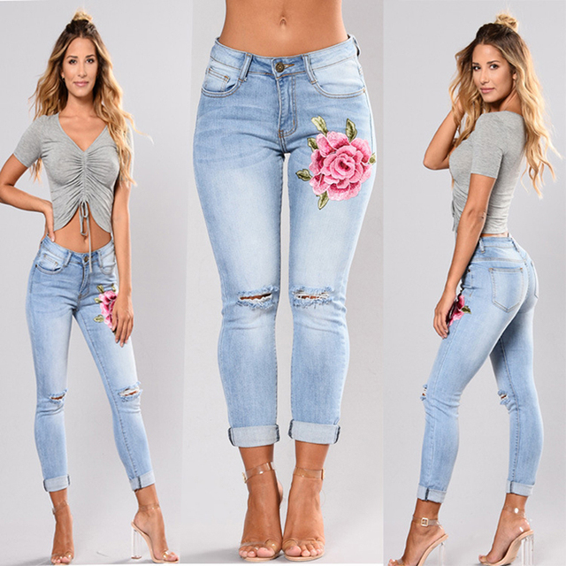 Jean brodé extensible pour femmes élastique fleur jean dames crayon Denim Pantalon trou déchiré Rose motif jean Pantalon Femme 1