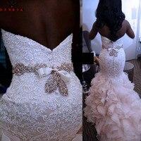 Luxury Wedding Dresses Mermaid Sweetheart Ruffle Lace Crystal Sash Sexy Vintage Wedding Gown Bridal Dress Custom Made YB152