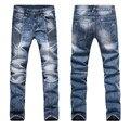 Elásticos Pantalones Vaqueros Delgados Hombres de La Moda Denim Jeans Vaqueros Plisados 2017 Recién Llegado de Largo Pantalones Vaqueros de Talla grande M54