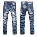 Elastic Slim Jeans Men Fashion Denim Jeans Pleated Jeans 2017 New Arrival Long Pants Plus Size Jeans M54