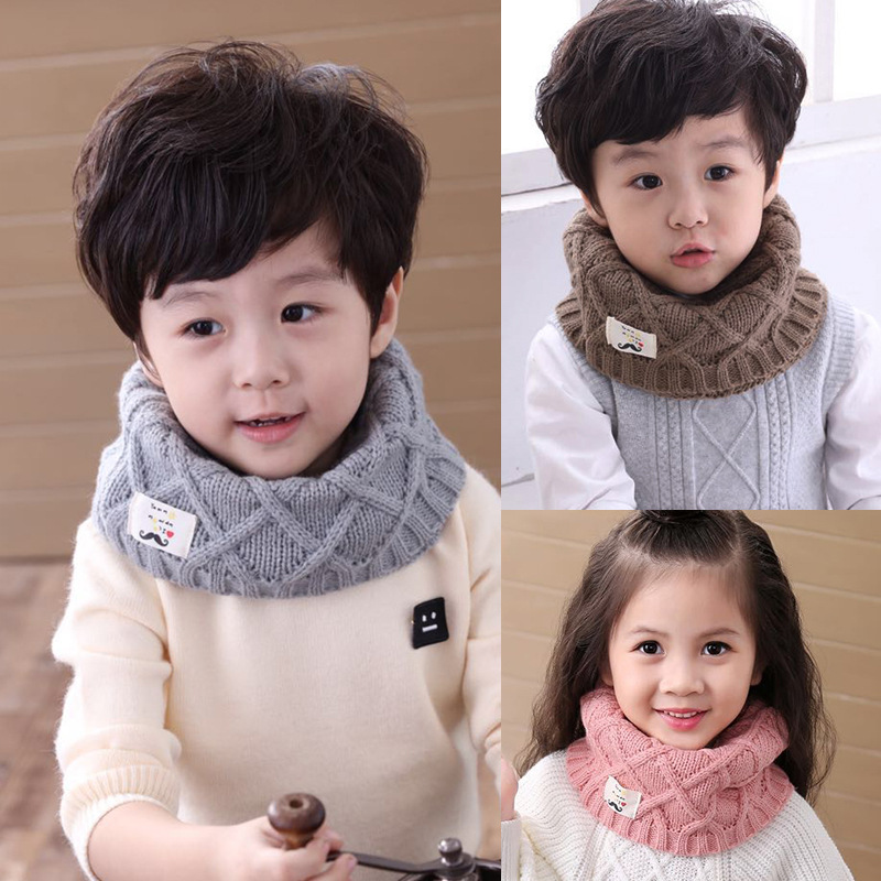 2017 Winter Spring Autumn Cotton Baby Scarf Children Girls Boys Kintted Wool O-Scarves Chidren Outing Protect Kint Solid Color