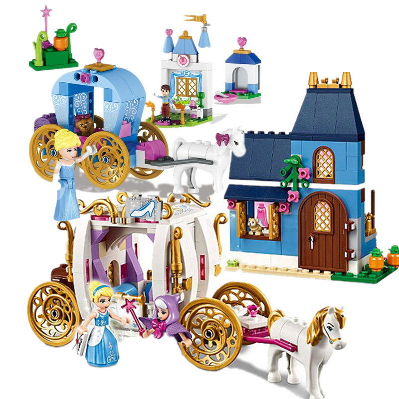 2018 Friends Princess Cinderella Pumpkin Carriage Building Enchanted Evening Blocks Toys Compatible With legoings for girls one enchanted evening