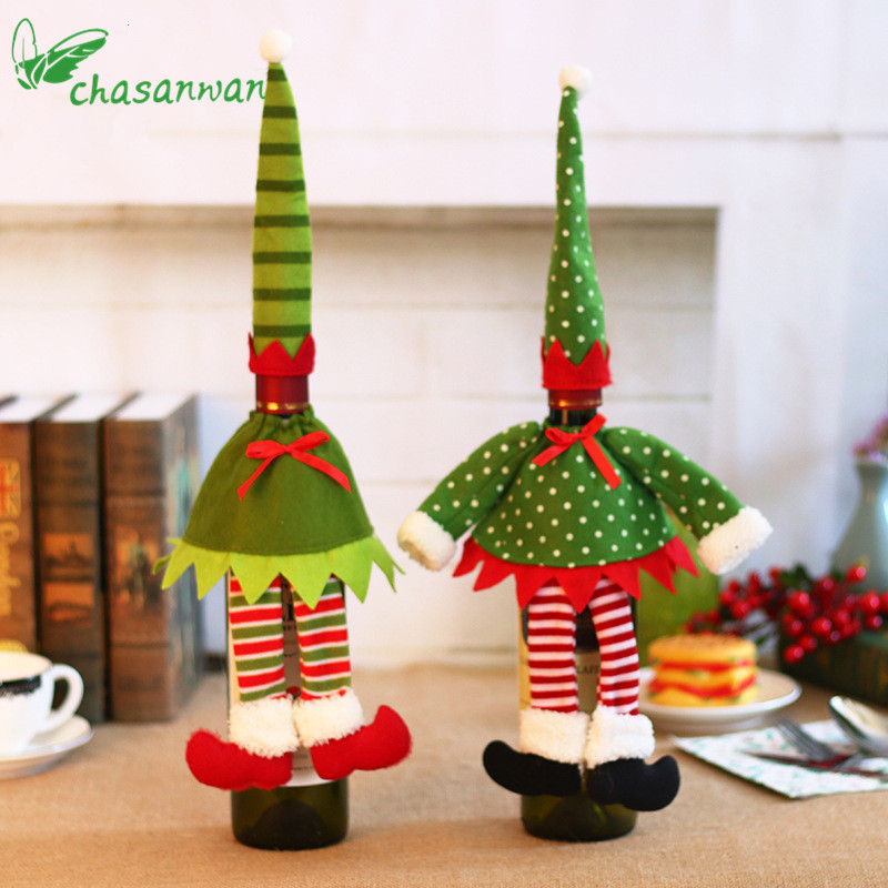 Christmas Wizard Red Wine Bottle Set Christmas Ornaments Supplies Xmas Decorations for Home Champagne Decoration Navidad Kerst,Q ...