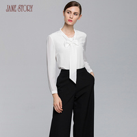 Jane Story women tops and blouses 2017 ladies office shirts long sleeve white chiffon fashion summer solid female blouse