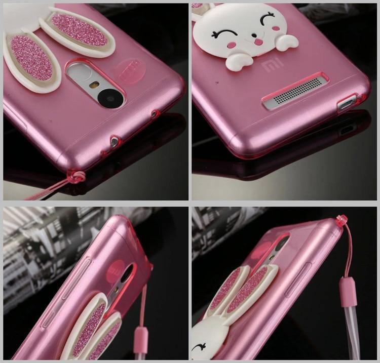sale retailer 07d6f c8b05 US $1.99 |Cute Rabbit Design Glitter Ear Soft TPU Stand Case Back Cover For  Xiaomi Redmi Note 3 Redmi Note 3 Pro Lanyard Shell on Aliexpress.com | ...