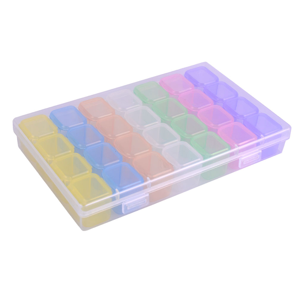 28 Compartment Empty Storage Box Nail Art Decorations Jewelry Beads Holder Accessories Mixed 7 Color Container Case CH507 1 1 5mm 10g pcs 3d glass nail caviar beads nail diy jewelry accessories black color nail art beads manicures decorations wy480