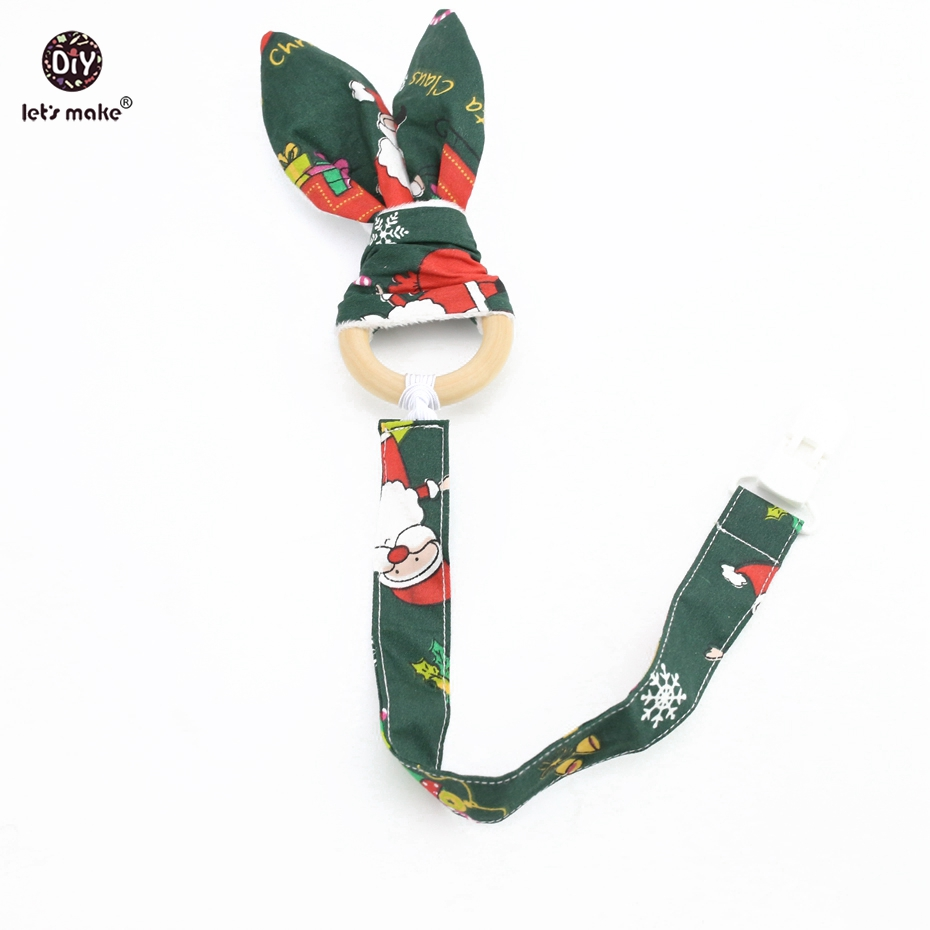 Lets Make Bunny Ear Pacifier Clip 2pc/1set Christmas Baby Shower Gift Dummy Clip Chain Teething Wooden Ring Nursing Teether