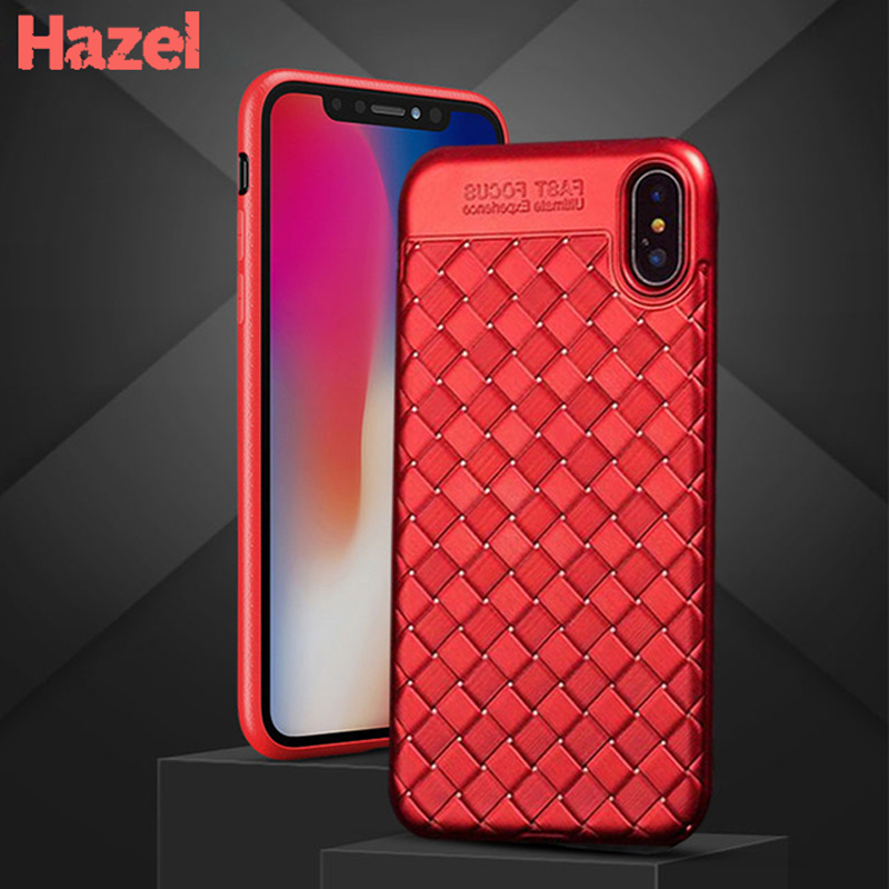 Hybrid Shockproof Weave Grid Case For iPhone 7 8 6 6s Plus coque Rubber Silicone Cover For iPhone X 10 Grid Weaving Cases capa