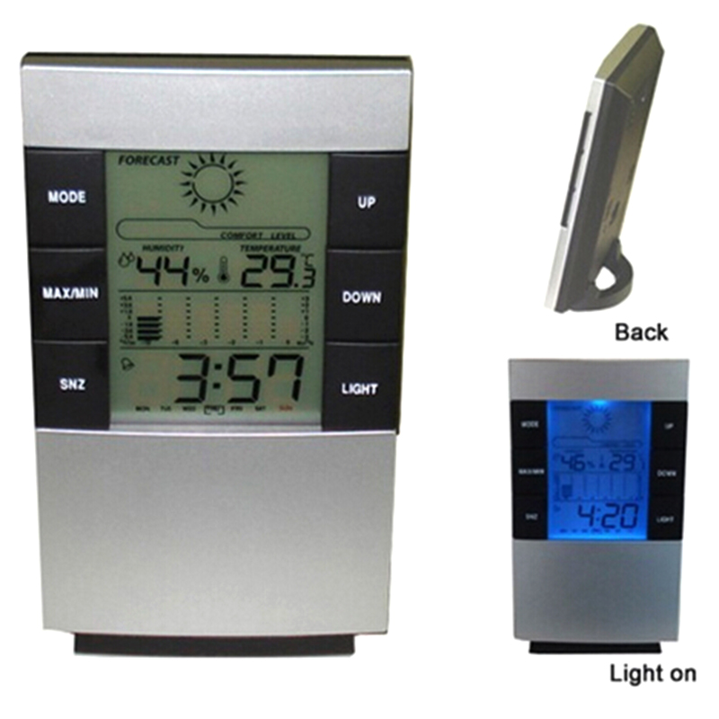 New LCD Digital Indoor Weather Thermometer Clocks Humidity Meter Hygrometer Alarm Clock  ...