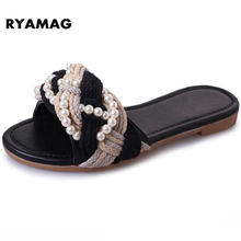 2017 Women's Beach Clogs Air mesh slippers Casual slippers breathable Classic Clogs and Mules flat Black Pearl twist Knitting