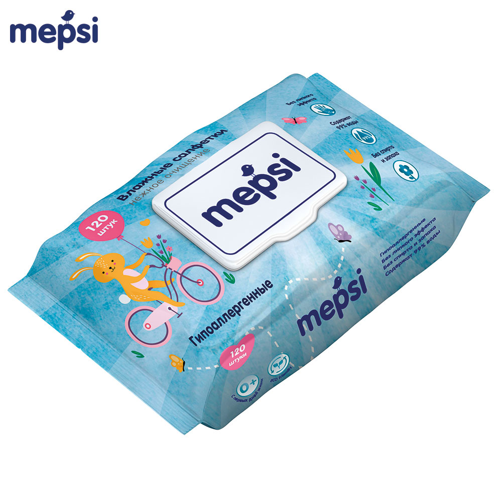 Wet Wipes MEPSI 0162 Hypoallergenic For children baby kids Alcohol-Free No smell Aloe wet wipes huggies aloe ultra comfort 128 pcs baby wipes