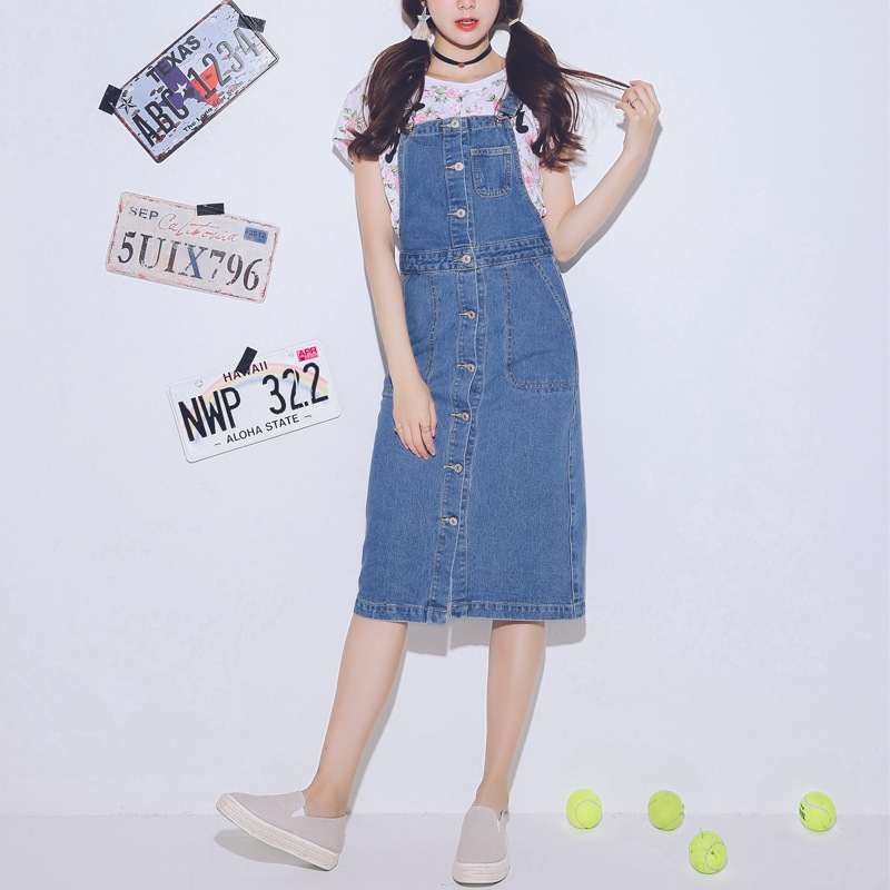 Summer/Spring Dresses 2018 New Women Denim Casual Sundresses PrePPy Style Single-breasted Blue Dress Vestidos C348