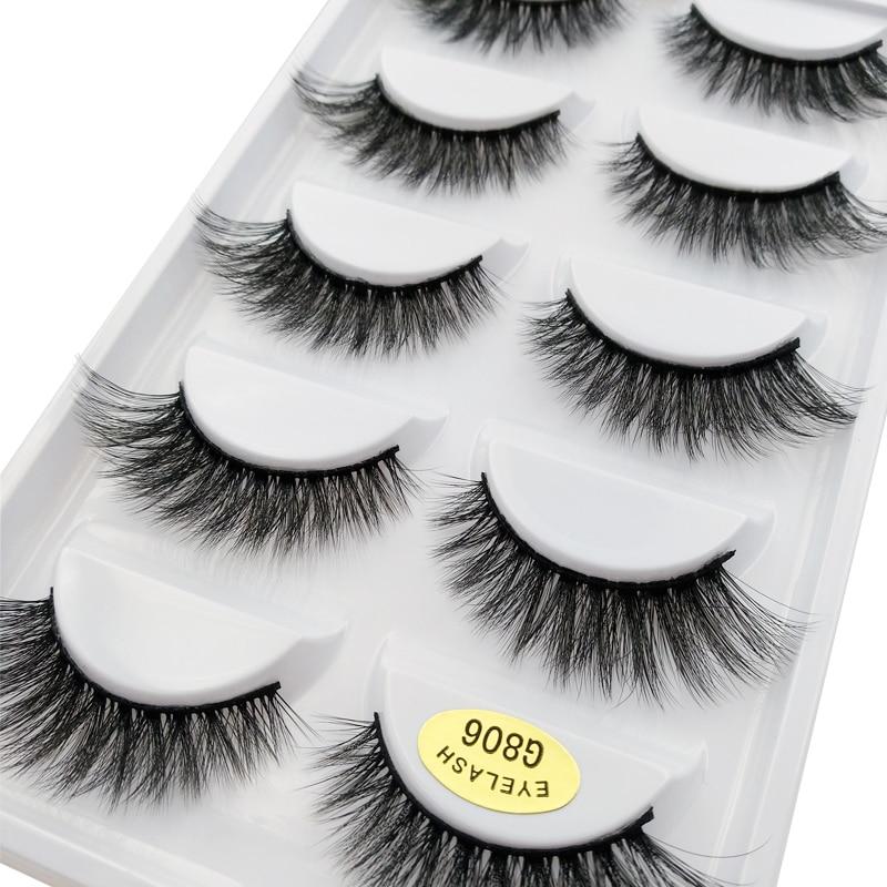 Makeup-Kit Eyelash-Extension Mink-Lashes Cilios Fake G806 Soft Natural 5-Pairs 100%Real