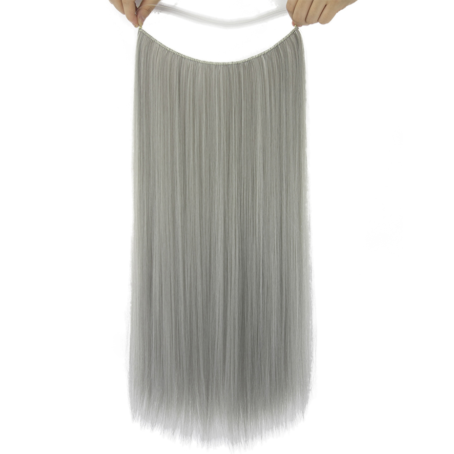 Soowee 24 Long Gray Synthetic Hair Fish Line Halo Invisible Straight Extension Heat Resistant Piece In Clip One From