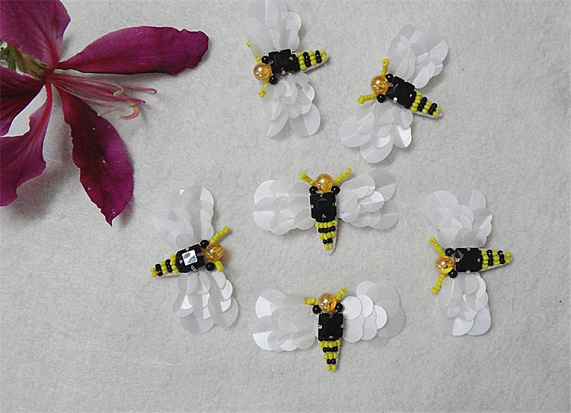 10pcs Sequin Beaded Bee Patch Collor Applique Iron on Patches for - ხელოვნება, რეწვა და კერვა - ფოტო 1