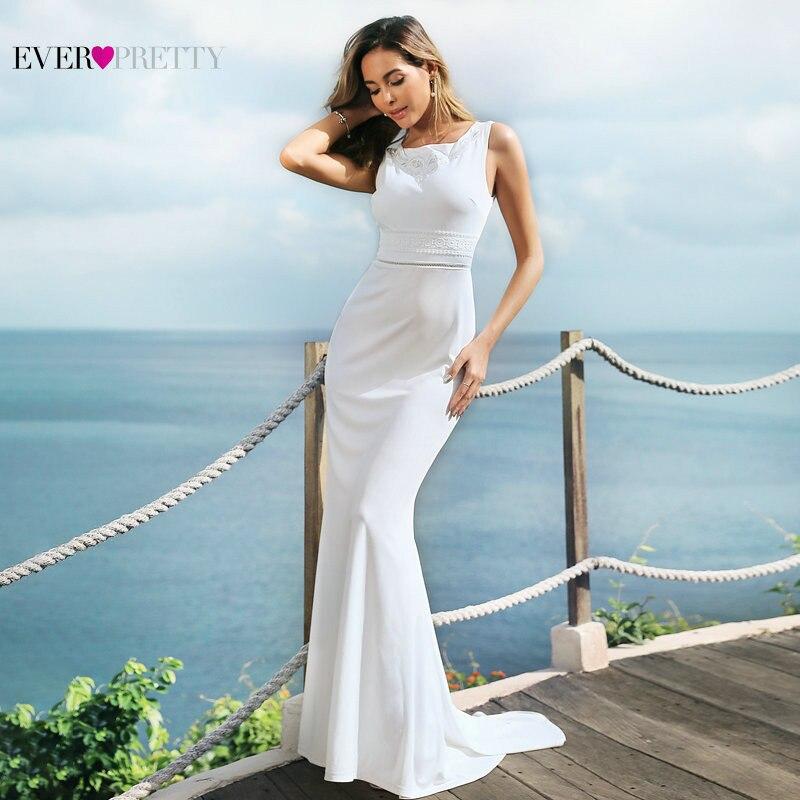 New Arrival   Bridesmaid     Dresses   Ever Pretty Simple Mermaid Sleeveless O-Neck Vestidos De Novia 2019 Elegant Gowns for Wedding