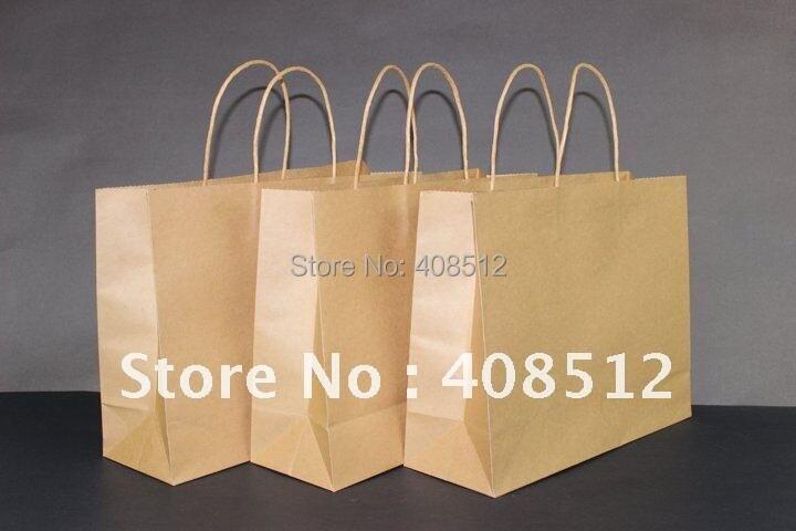 500 шт. 32 Wx11 Dx25.5cm H печати логотип пейзаж крафт-поворот ручки коричневый подарок Торговый Упаковки Перевозчик мешок