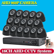16CH AHD 1080P DVR Kit CCTV Video System 16 x 960P 2500TVL Indoor Outdoor Security Camera set 16 channel CCTV Kits