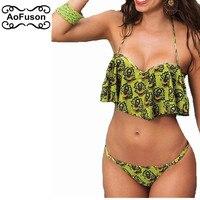 Sexy Push Up Bikini Set 2017 New Beach Print Bathing Suits Maillot De Bain Biquin Brazilian
