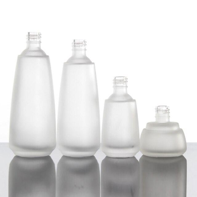 Pompe 4 oz pour bouteille de crème à raser, récipient de pompe de Lotion en verre dépoli clair de 120 ml