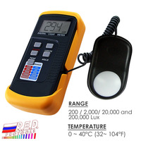Portable Digital Light Level Meter Tester with Peak illuminance Detector + 200k Lux Foot Candle FC LCD Photo